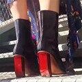 Diseñador de la Luz de Freno de Color Rojo Talón Tobillo de Las Mujeres Botas Cortas Cremallera Lateral Botines Extrañas Mujeres de Tacón Bombas Zapatos de San Valentín