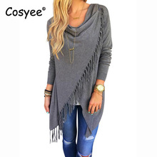 Cosyee Women s Full Sleeve Asymmetric Length Fashion Trench Single Button Hipster Fashion Solid Tassels Trench