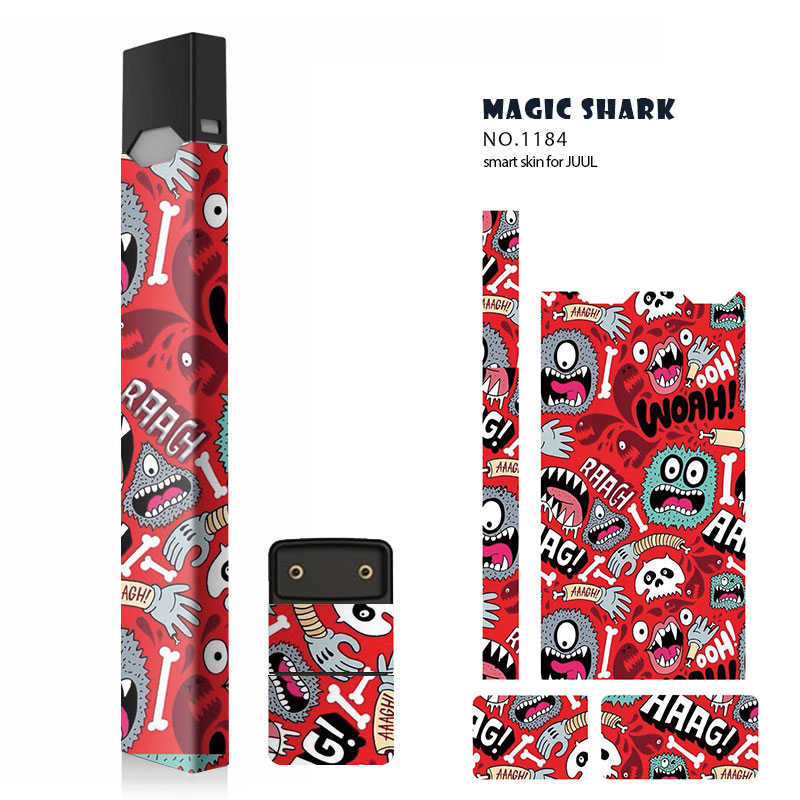 Magic Shark STICKER for Juul 10 Pattern 2.5D Stereo Film Sticker 3M Adhesive Printing Label skin  for Juul Case