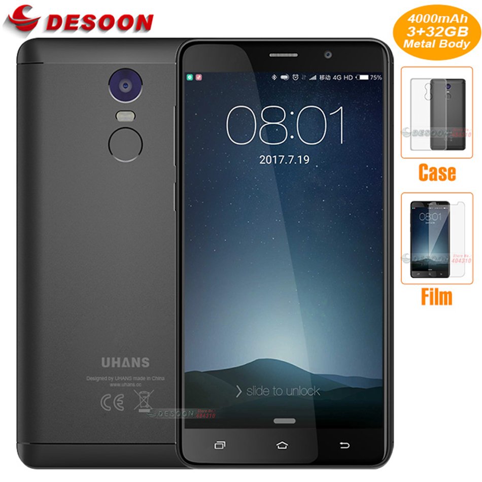 "bilder für Original Uhans Hinweis 4 3 GB RAM 32 GB ROM Handy MT6737 Quad Core 5,5 ""4000 mAh Fingerprint ID 13.0MP Kamera 4G LTE Smartphone"