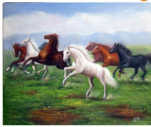 Horses Wild Mustang Herd Landscape 20X24 Oil Painting