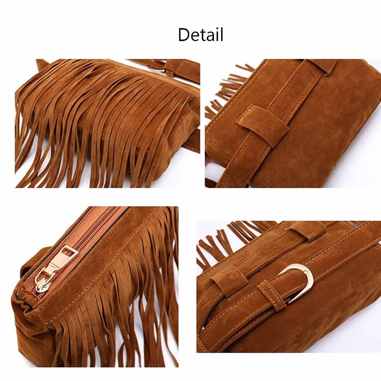 734c3096677f OLAGB Luxury Designer Tassel Fanny Pack For Women Black Vintage Travel  Ladies Velvet Cell Phone Bags Belts Female Waist Bag 309