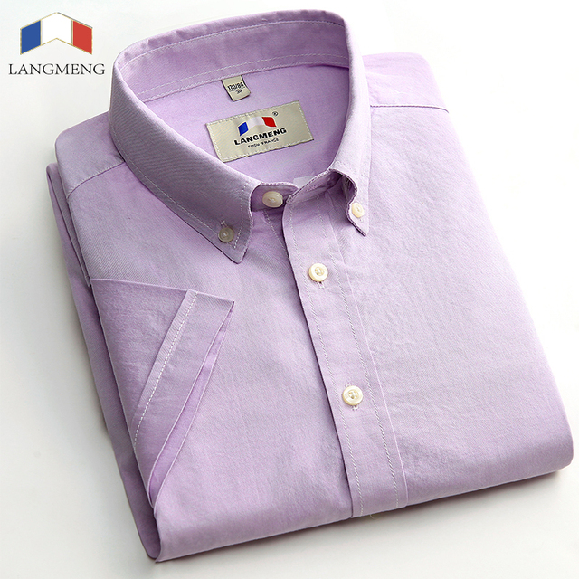 LANGMENG 100% cotton New mens casual fashion dress shirt  Man's short sleeve oxford casual shirts size XS-3XL