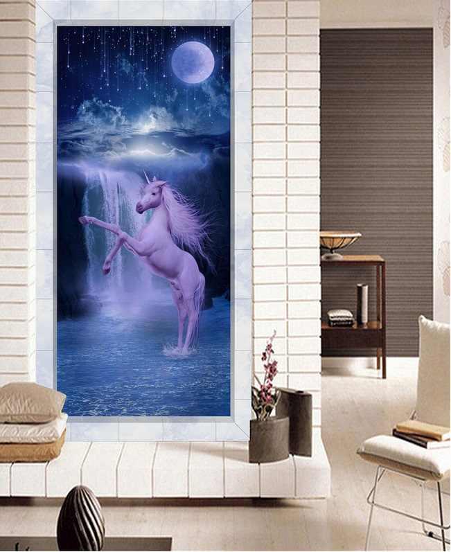 Benutzerdefinierte foto 3d tapete mond fällt einhorn veranda wohnzimmer dekoration malerei 3d wandbilder tapete