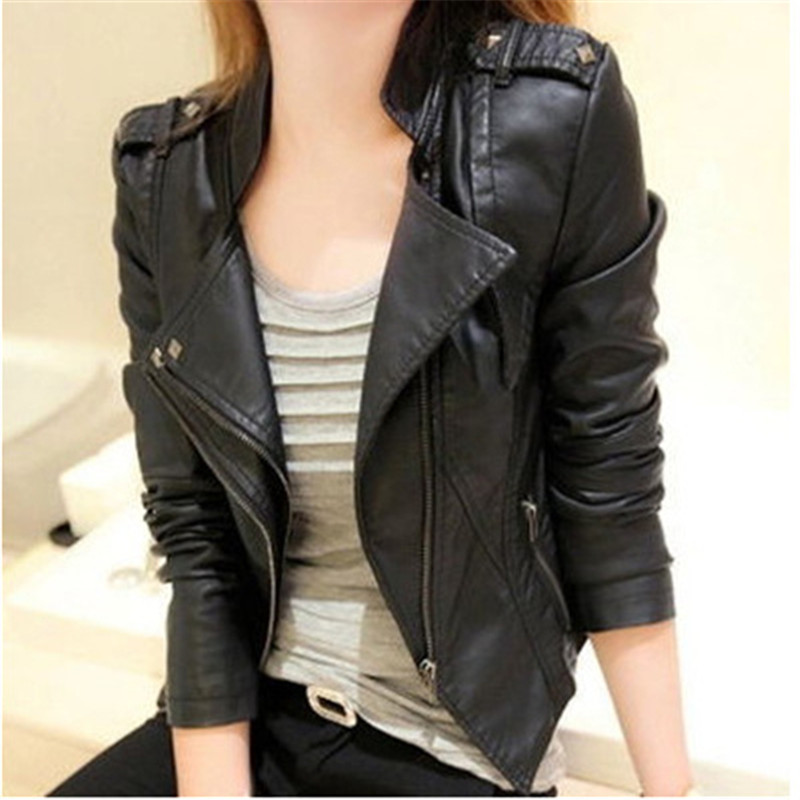 Large Size Winter Women Faux   Leather   Leisure Pu jacket Moto biker Jacket Big Size Female Outerwear Fashion Women's Coats J682