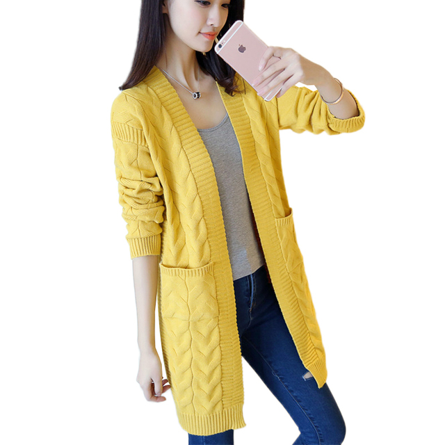 453b0d29c5c Twine Knit Cardigan Pocket Vintage Autumn Sweater Jackets 2018 New Womens  V-neck Loose Comfortable