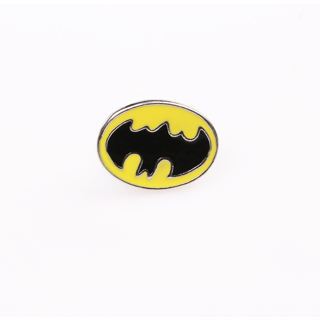 Batman Brooch Superhero DC Comics Silver plated enamel pin Badge brooches Yellow background for man and woman fans