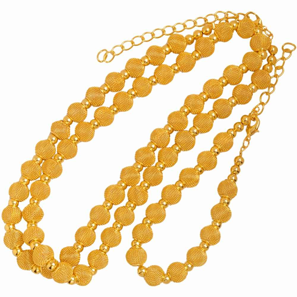 Anniyo 82cm Beads Necklace and 24cm Bracelets for Women Fashion Gold Color Ball Jewelry Party sets (Ball Size 1.2cm) #103606