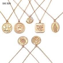 SHIXIN Boho Простое Ожерелье-чокер с подвесками в дизайне Павлиньего хвоста для женщин Девы Мэри роза Ангел Руна монета кулон Мода массивные ювелирные изделия для женщин