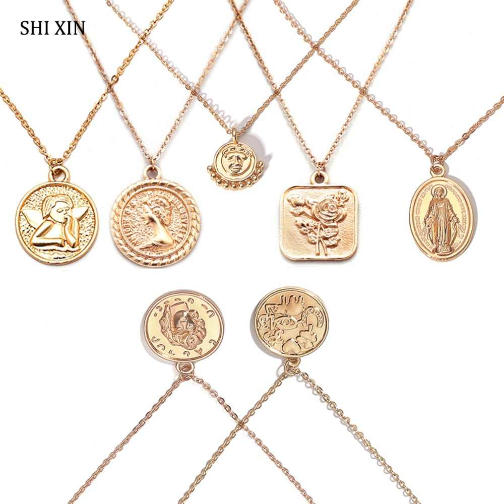 SHIXIN Boho Simple Charms Choker Necklace Women Virgin Mary Rose Flower Angel Rune Coin Pendant Fashion Statement Jewelry Female