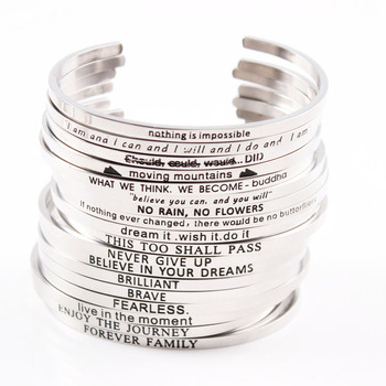 2017 Silver Stainless Steel Engraved Positive Inspirational Quote Cuff Mantra Bracelet Bangle Valentine's Day Best Gifts est 2009 lettering stainless steel positive inspirational round cuff bracelet mantra bangle for lover gifts