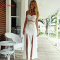 2017 Vintage Club Party Dresses Sexy Sleeveless Lace Long Dress Hollow Wrap Dress Women Bodycon Split Dress Gowns