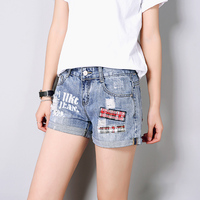 Fashion Women Denim Shorts 2017 Summer Hot Sell Blue Short Jeans Pacchwork All-Match Casual Beach Shorts Female Short Trousers