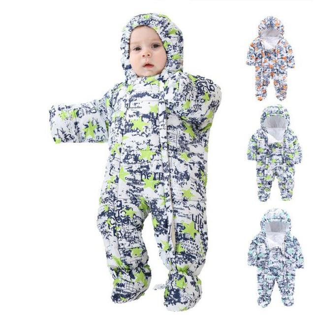 2016 Roupa Do Bebê Meninos E Meninas de Inverno Russo Bebê Grosso Macacão de Camuflagem Macacão de Inverno Menino