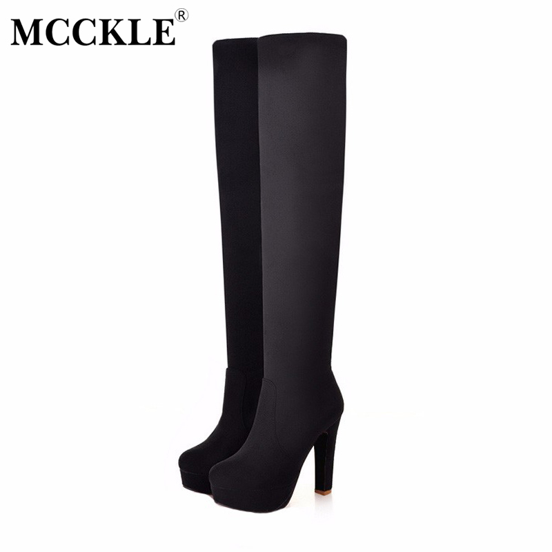 MCCKLE Sexy Thin Square Heels Over The Knee Boots Winter Stretch Suede Thigh High Long Boot Woman Plus Size 35-43 Women's Shoes only true love genuine leather shoes woman winter long boots square heels sexy women over the knee high boots
