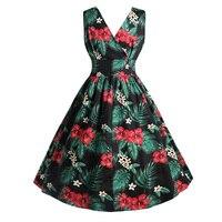 Sisjuly Women Vintage Dresses 2018 Spring Autumn Green Floral Printed Sleeveless V Wrap Neck Elegant A