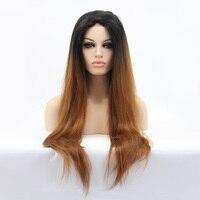 LUFFYHAIR длинные прямые Ombre Синтетические волосы на кружеве Парики 1b # T30 # светло коричневый два тона Цвет бразильский человеческих Синтетическ