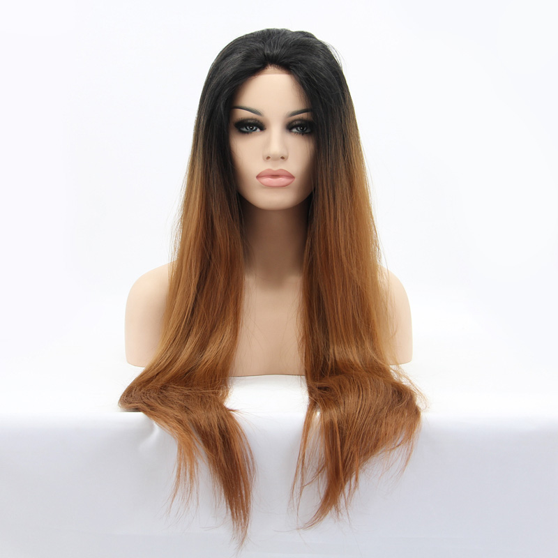 LUFFYHAIR Long Straight Ombre Lace Front Wigs 1b#T30# Light Brown Two Tone Color Brazilian Remy Human Lace Front Wig Middle Part