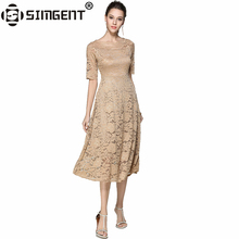 Simgent New European Summer Women's Lace Hollow Out Long Dress Femme Casual Clothing Women Sexy Slim Party Dress Vestidos SG7686