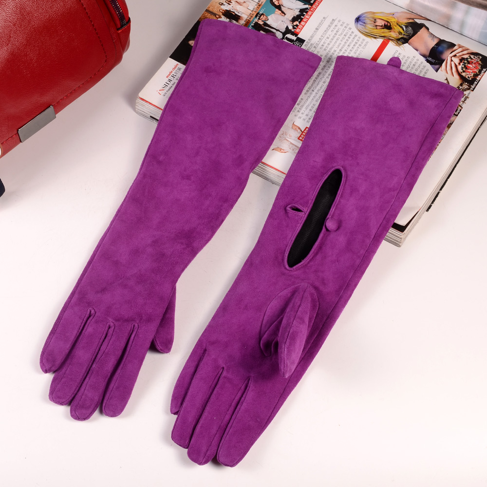 40cm Women/'s Real Suede Leather Party Evening  Overlength Opera//Long Gloves