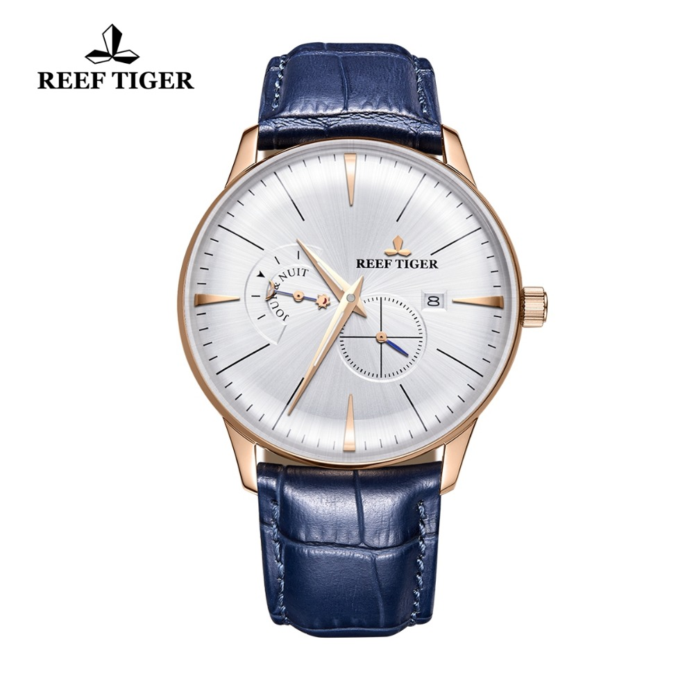 2019 Reef Tiger Luxury Automatic Waterproof Analog Watches Mens Designer Watches  Blue Leather Watch Strap RGA8219