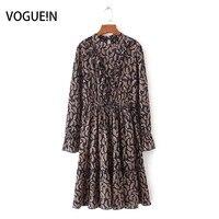 Vogue! n foglio di modo delle nuove donne delle signore casual stampa manica lunga navy/khaki midi dress taglia sml