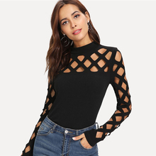 Black Streetwear Party Elegant Sexy Workwear Square Cutout Shoulder Fitted Skinny Tee Autumn Women Office Lady T-shirt Top overlay frill cutout shoulder tee