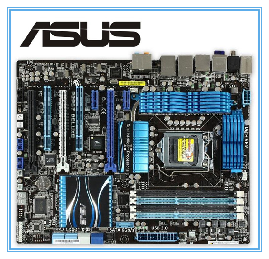 все цены на ASUS P8P67 Deluxe original motherboard  DDR3 LGA 1155 for I3 I5 I7 32nm CPU 32GB USB3.0 SATA3 P67 motherboard Free shipping онлайн