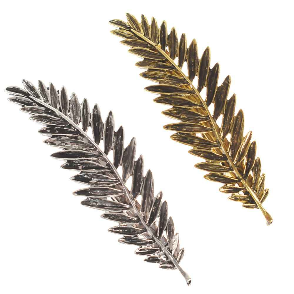 2018 Fashion 1PC Christmas Gifts Hair Accessories Hair Ornament Party Decoration Women Fashion Leaf Feather Hair Clip Hairpin