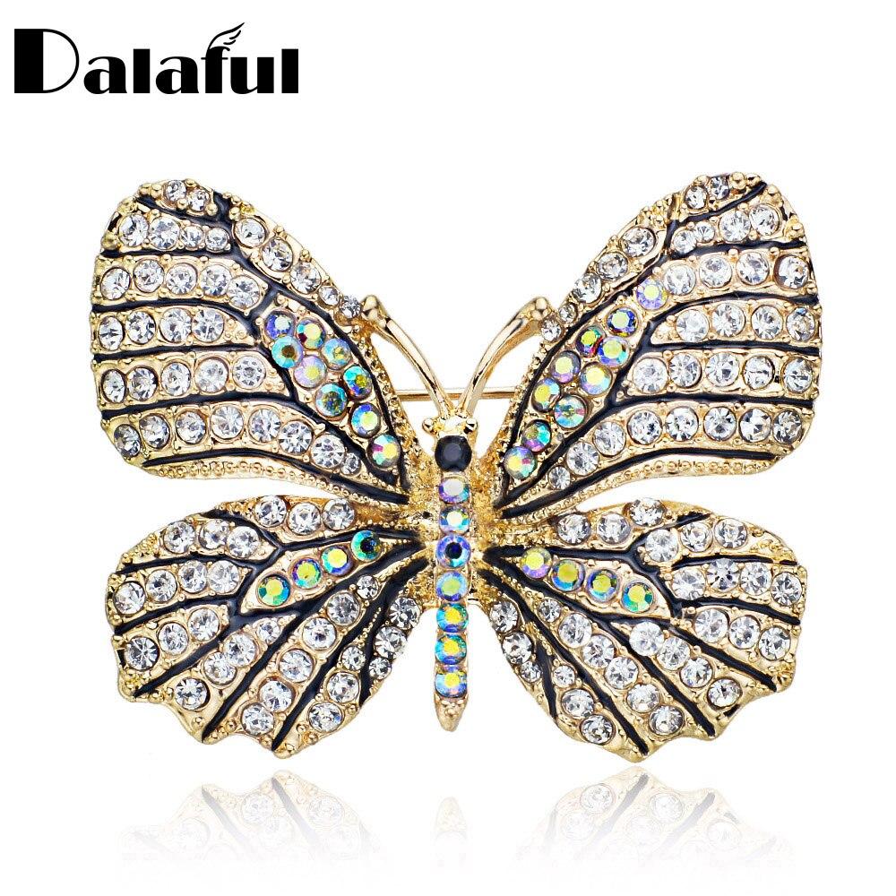 Kiváló minőségű pillangó bross Pin Crystal strasszos gyönyörű brossok a nők ruha esküvői menyasszonyi Z017