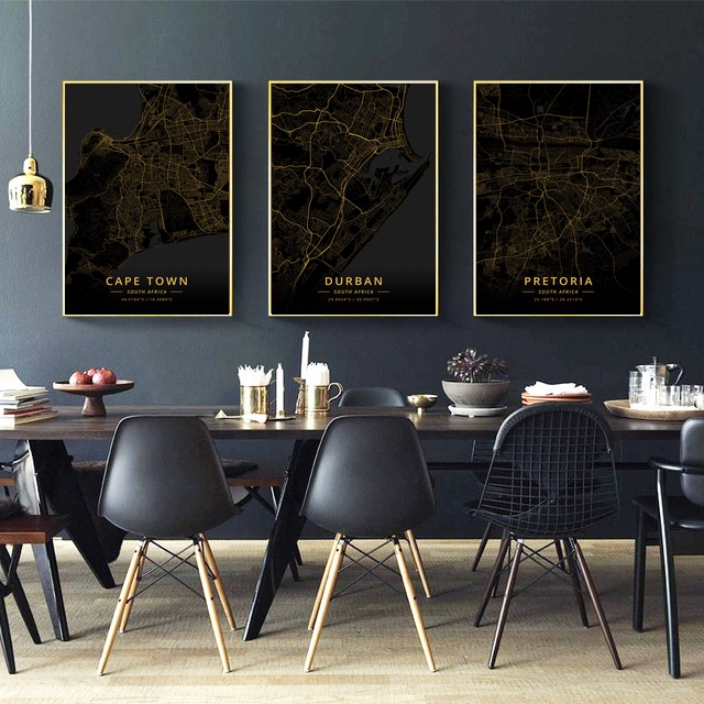 Pretoria <font><b>Durban</b></font> Cape Town South Africa City Map Gold Map Canvas Art Print Wall Pictures for Living Room No Frame image