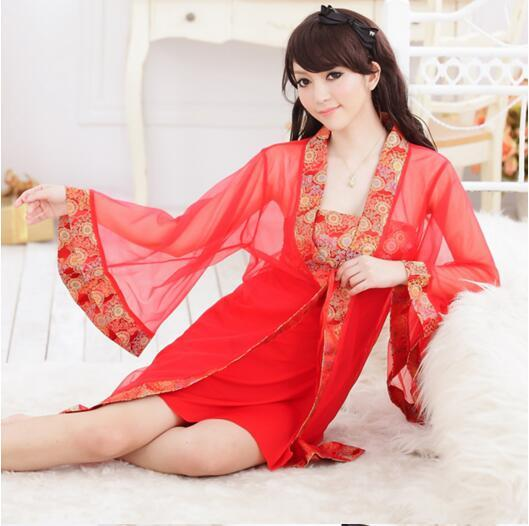 1 set 3 pieces in one robe + skirt + t thong Bride high quality robe bathrobes nightgown gift sleepwear piece set kimono Costume