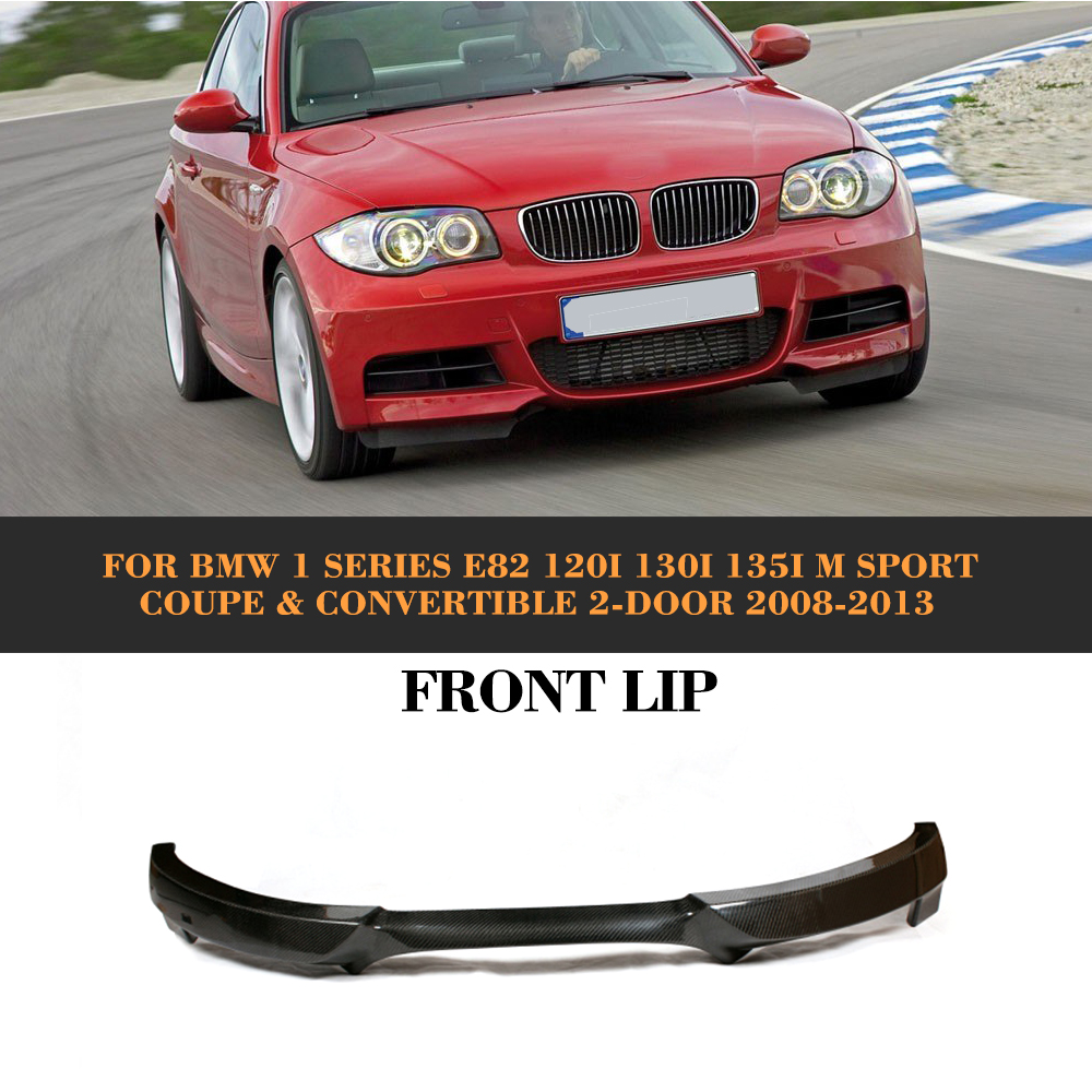 1 Series Carbon Fiber Front Bumper Lip Diffuser For BMW E82 120i 130i 135i M Sport Coupe Convertible 2 Door 2008-2013 carbon fiber auto front lip splitter flags for bmw 4 series f32 f33 435i m sport coupe & convertible 2 door 2014 2016