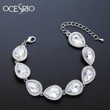 OCESRIO Silver Crystal Wedding Bracelet for Bridesmaid Crystal Bride Bridal Brac
