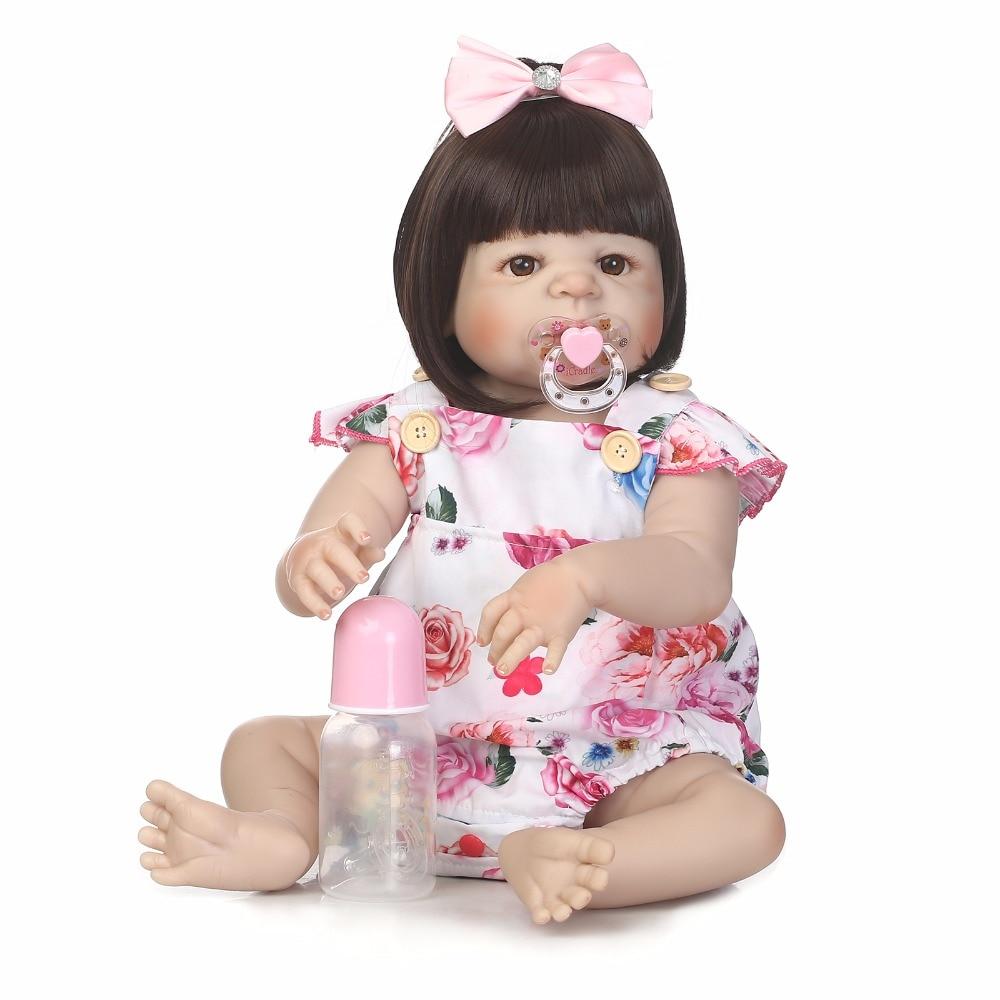 55cm Full Silicone Body Reborn Girl Baby Like Real Bebe Doll Toys 22inch Newborn Princess Toddler Babies Doll Cute Birthday Gift