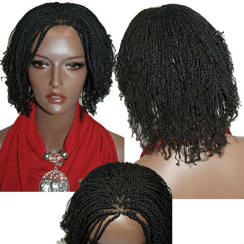 free shipping Fully hand braided lace wig Kinky twist 1B ...