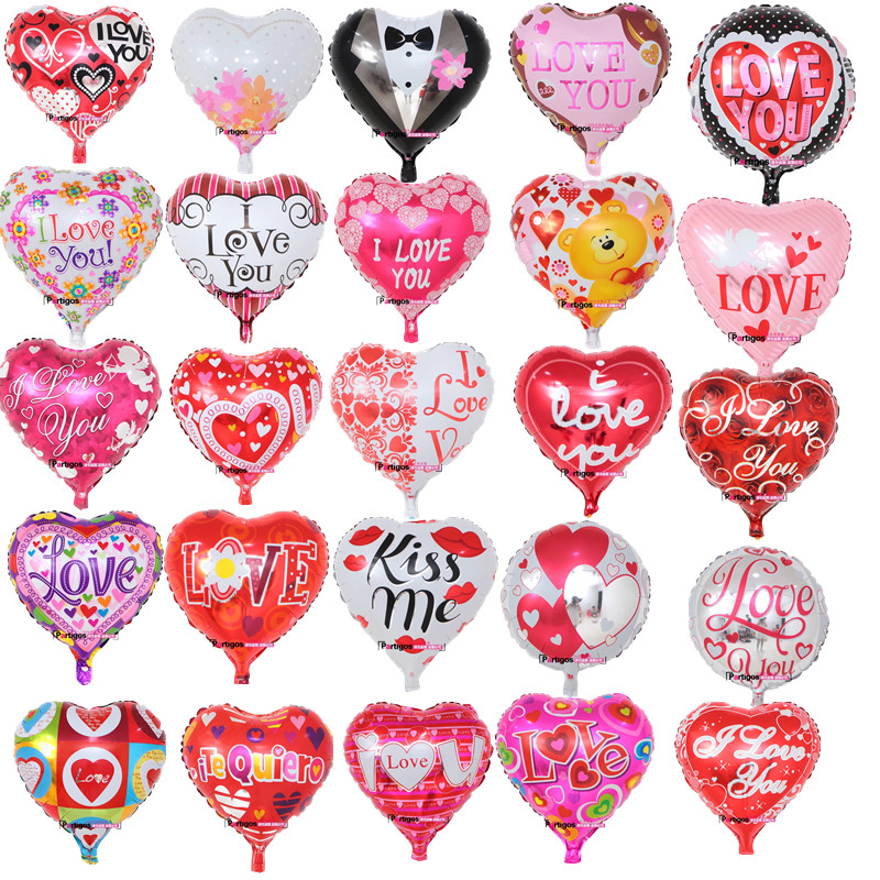 100pcs 18inch Mix Bride and Groom Dress I Love You foil mylar balloons Love Heart wedding