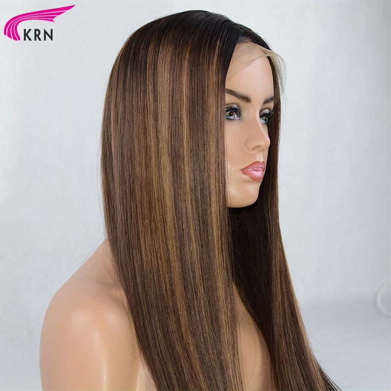 Highlights Pre Plucked 13x6 deep parts Lace Front Human Hair Wigs Bleached Knots straight Remy Hair