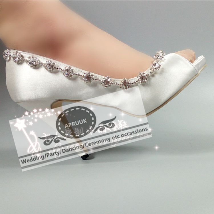 Super high 10cm 8cm heeled satin wedding shoes bride HS337 handmade silver crystal chain bridal brides party proms dress shoes