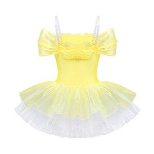 Image 2 - IIXPIN Girls ballet dress ballerina dance clothing dancewear Off Shoulder Design 3D Flowers Gymnastics Leotard Ballet Tutu Dress