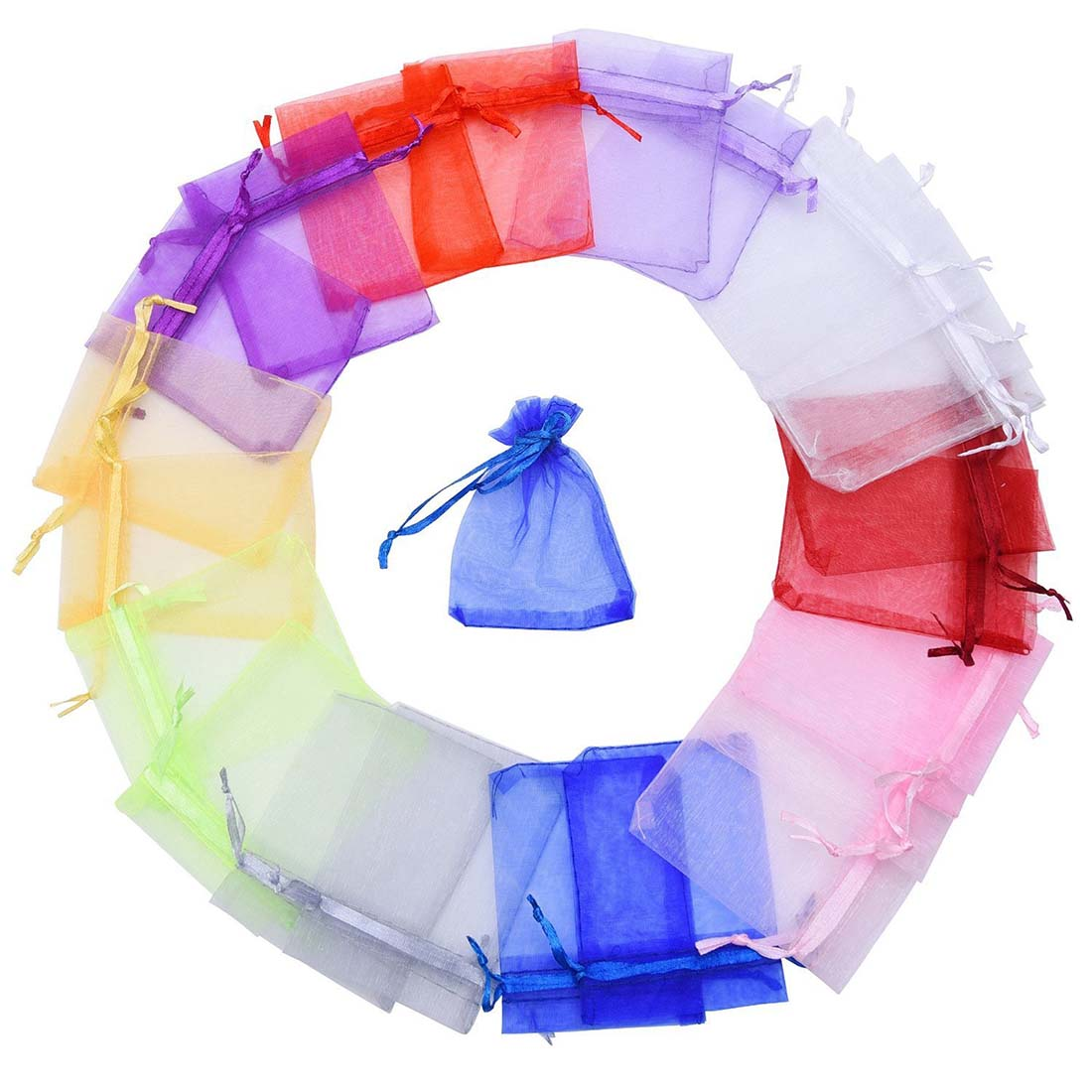 1Set(50Pcs) Wedding Party Favor Satin Drawstring Organza Bags/Pouch-Assorted 8*10cm