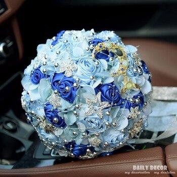 Perlen Braut Mit Blumen, 2018 Neue Hochzeit Band Rose Braut Bouquet, Rosa Blau Weiß Champagner Lila Brautsträuße