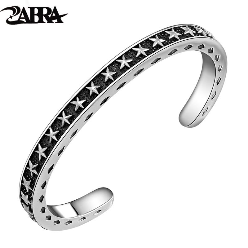 купить ZABRA Solid 925 Sterling Silver Wide 6mm Thickness 4mm Vintage Open Cuff Bangle Women Men Carving With Stars Opening Bracelet по цене 6002.82 рублей