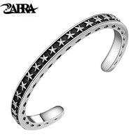 Zabra одноцветное стерлингового серебра 925 широкий 6 мм Толщина 4 мм Винтаж открыть манжета Для женщин Для мужчин Вырезка со звездами открытие ...