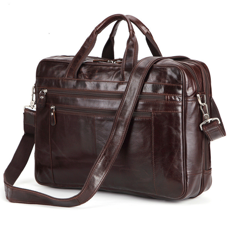 New Double Space Large Capacity Male Handbag Genuine Leather Business Men Travel Bag Leisure Satchel Fit 17 Inch Laptop PR008137