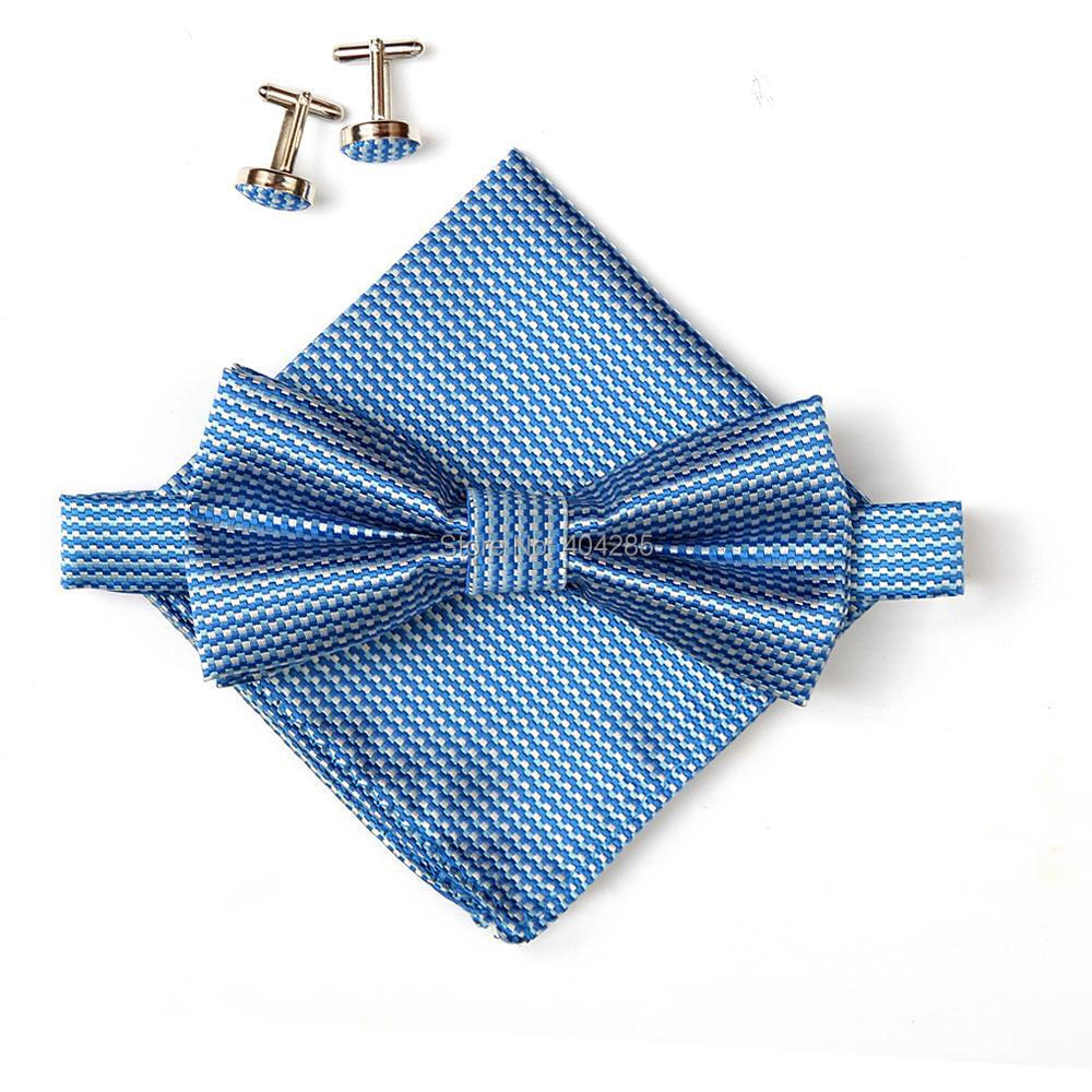 2019 Hot sell men s neck ties set bow tie hanky cufflinks butterfly Pocket square