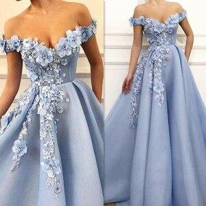 Image 1 - Fantasie 3D Blumen Prinzessin V ausschnitt A linie Prom Kleid mit Perlen Lace up Zurück Bodenlangen Party Kleid Abendkleid