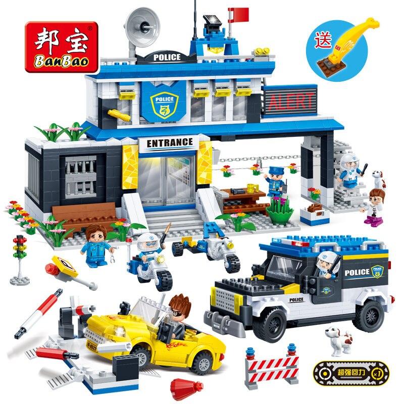 BanBao 7010 Police Station Pullback Car Building Blocks Educational Bricks Model Toy For Children Kids Friend