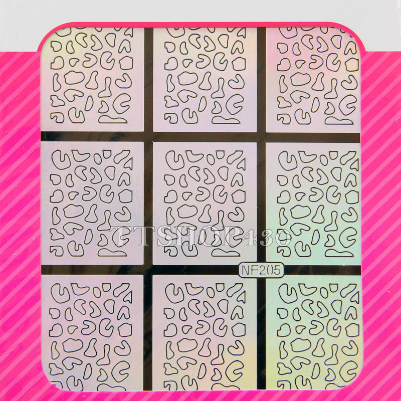 Multiple Use Stamping Tool Nail Art Hollow Laser Silver Template Stencil Stickers Vinyls Image Guide Polish Manicure 12 Style In Decals From