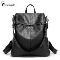 New 2016 Fashion Trendy PU Leather Backpacks Multifunction Women Bag Simple Design Travel Bag High Capacity